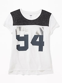 Graphic Linen-Blend Football Tee for Girls