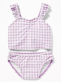 Ruffled-Strap Gingham Bikini for Toddler Girls
