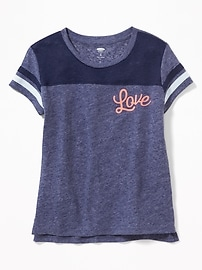 """Love"" Linen-Blend Football Tee for Girls"