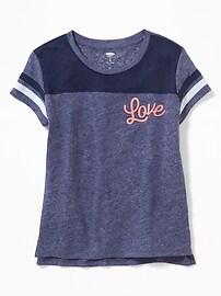 T-shirt de football «Love» en mélange de lin pour fille