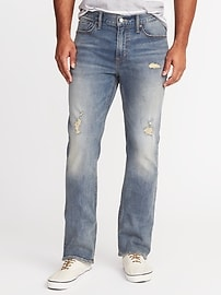 Distressed Built-In Flex Boot-Cut Jeans for Men