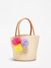 Straw Pom-Pom Tote for Toddler & Baby