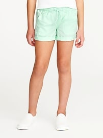 Cuffed Pull-On Poplin Shorts for Girls