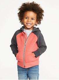 Color-Blocked Fleece Zip Hoodie for Toddler Boys