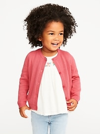 Crew-Neck Cardi for Toddler Girls