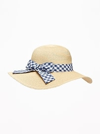 Gingham Bow-Tie Straw Sun Hat for Toddler Girls