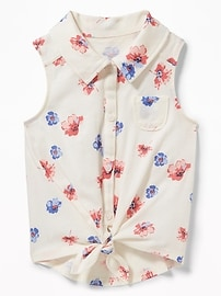 Tie-Hem Button-Front Top for Toddler Girls
