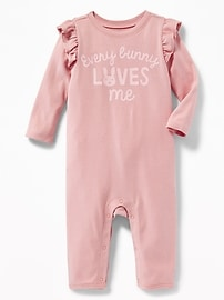 """Every Bunny Loves Me"" Ruffled One-Piece for Baby"