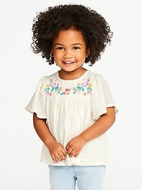 Floral-Embroidered Bell-Sleeve Blouse for Toddler Girls