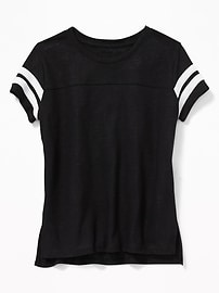 Linen-Blend Football Tee for Girls