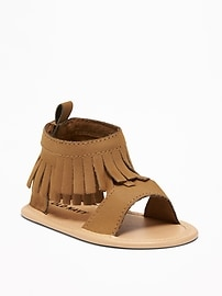 Sueded Fringe Gladiator Sandals for Baby