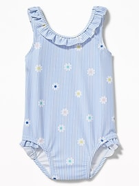 Patterned Ruffle-Neck Swimsuit for Baby