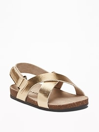 Metallic Faux-Leather Cross-Strap Sandals for Baby