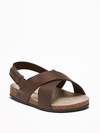 Faux-Leather Cross-Strap Sandals for Baby