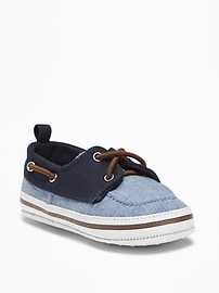 Color-Blocked Chambray Boat Shoes for Baby