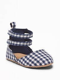 Gingham Pointy-Toe Ballet Flats for Baby