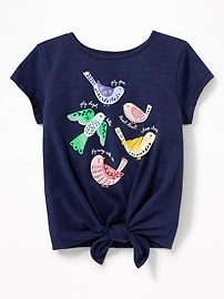 Graphic Tie-Hem Tee for Toddler Girls