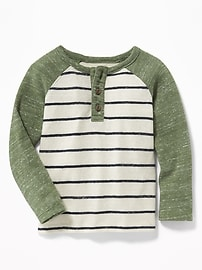 Striped Color-Block Sweater-Knit Henley for Toddler Boys