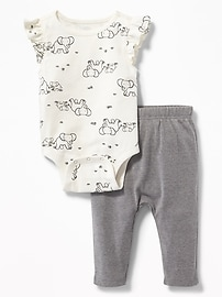 Patterned Bodysuit & Graphic U-Shaped Leggings Set for Baby