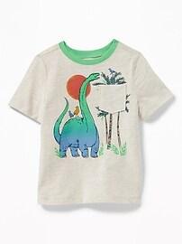 T-shirt à imprimé de dinosaure à poche pour tout-petit garçon