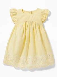 Flutter-Sleeve Eyelet Dress for Baby