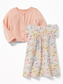 Floral Jersey Dress & Plush Cardi Set for Baby
