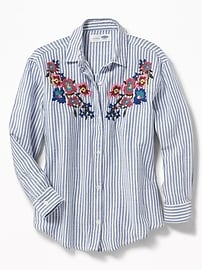 Floral-Embroidered Boyfriend Shirt for Girls