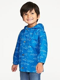 Water-Resistant Hooded Raincoat for Toddler Boys