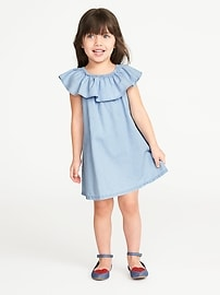 Ruffled Chambray Dress for Toddler Girls