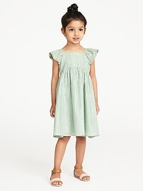 Metallic-Stripe Flutter-Sleeve Dress for Toddler Girls