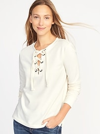 Relaxed Lace-Up French-Terry Sweatshirt for Women