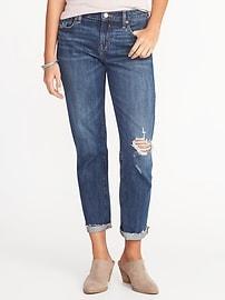 Boyfriend Distressed Straight Jeans for Women