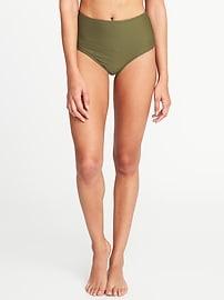 Culotte de bikini à taille haute à rayures texturées pour femme