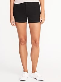 "Black Denim Shorts for Women (3 1/2"")"