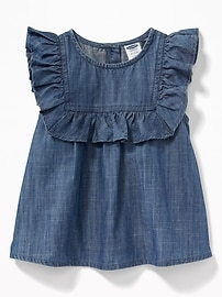 Ruffled Chambray Top for Baby