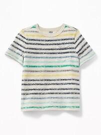 T-shirt rayé à poche à lisière brute pour tout-petit garçon