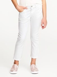 Skinny Clean-Slate Cropped White Jeans for Girls