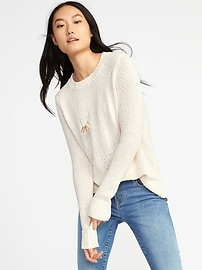 Slub-Knit Crew-Neck Sweater for Women