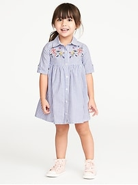 Floral-Embroidered Stripe Shirt Dress for Toddler Girls