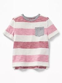 T-shirt à poche en tricot grège rayé pour tout-petit garçon