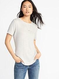 T-shirt en tricot duveteux à ourlet arrondi pour femme