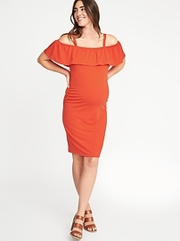 Maternity Off-the-Shoulder Bodycon Dress