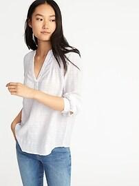 Chemise décontractée à enfiler avec armure à carreaux de fenêtre pour femme