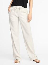 Mid-Rise Soft Wide-Leg Linen-Blend Pants for Women