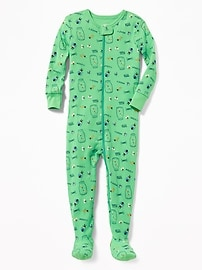 Bug-Print Footed One-Piece Sleeper for Toddler & Baby