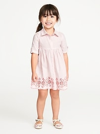 Striped Eyelet Shirt Dress for Toddler Girls