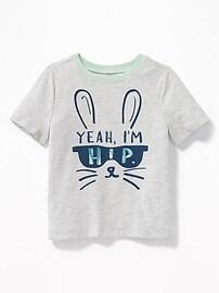 T-shirt à imprimé de lapin «Yeah, I'm Hip» pour tout-petit garçon