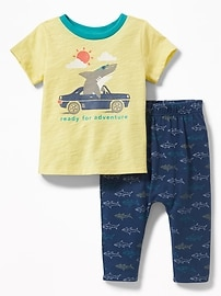 Graphic Tee & Printed Jersey Pants Set for Baby