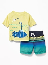 Graphic Rashguard & Swim Trunks Set for Baby