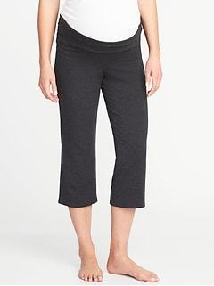Pantalon de yoga de maternité repliable à jambe large longueur trois quarts